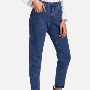 Dark Blue Vintage Wash High Waist Mom Jeans